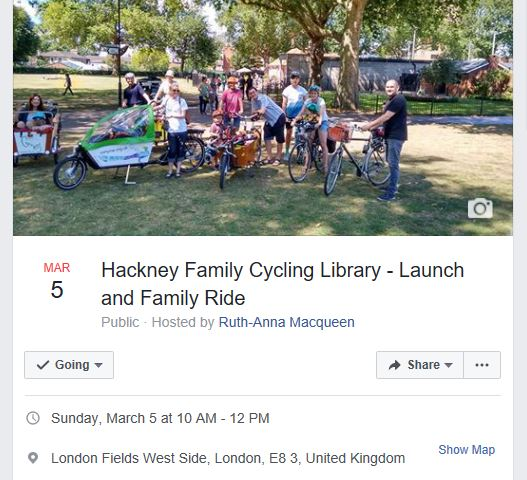 Facebook page event Family Cycling Hackney