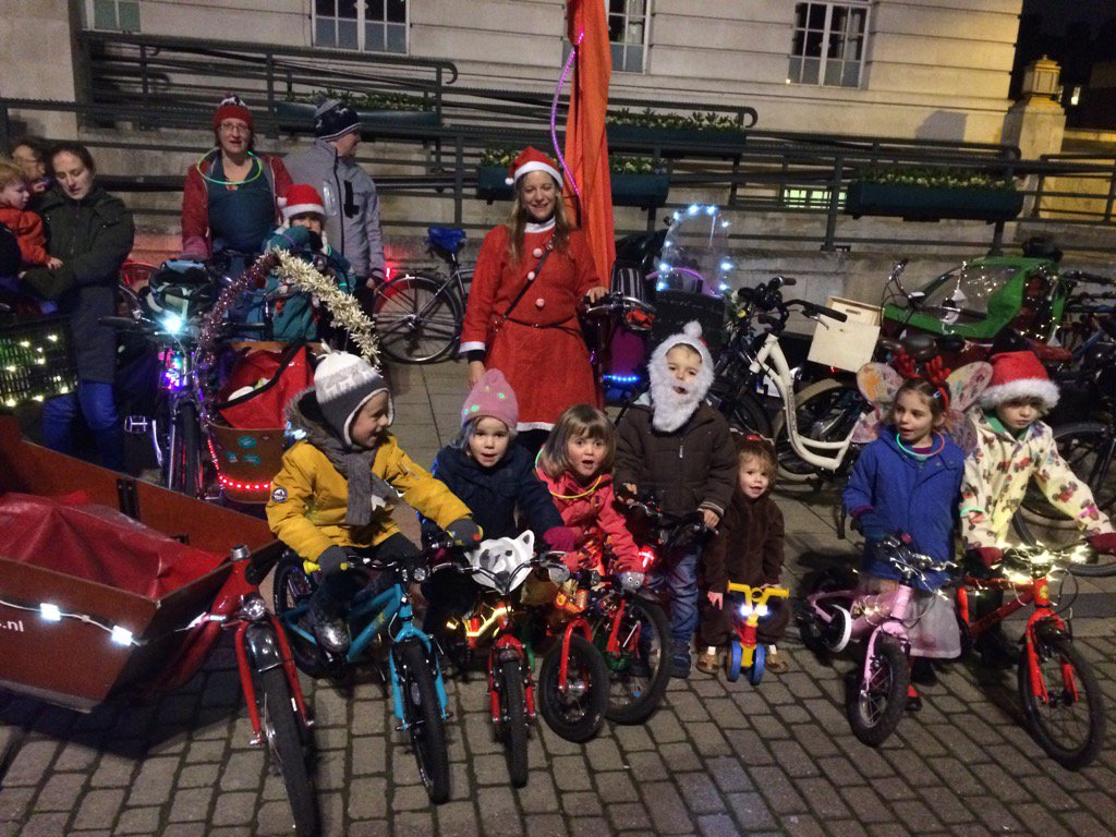 Little kids and cargobikes at Hackney Town Hall