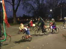 Christmas lights ride in London Fields